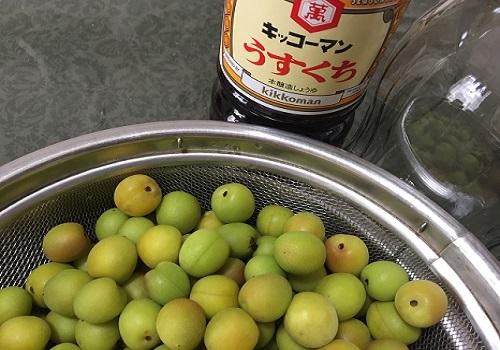 小梅のカリカリ醤油漬けの材料